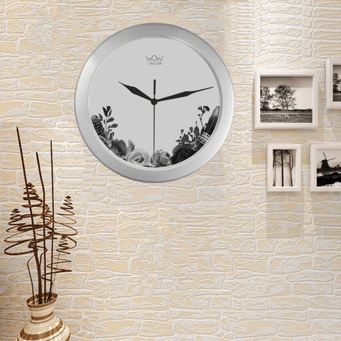 WOW | i Collection B&W Grey Tone Floral Elegant Round Silver Framing Wall Clock