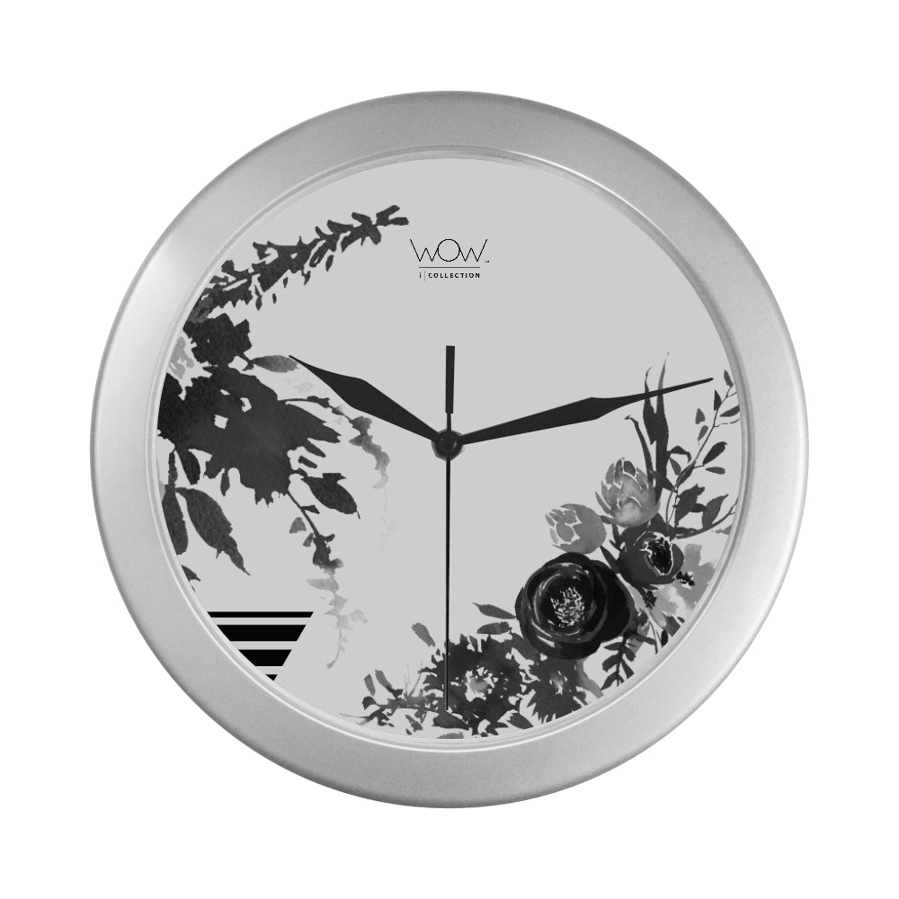 WOW | i Collection B&W Floral Elegant Round Silver Framing Wall Clock