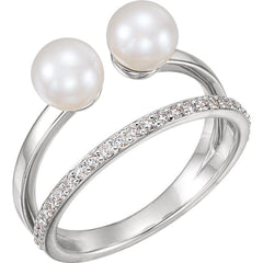 WOW Pearl Fashion | 14K Freshwater Cultured Pearl & 1/5 CTW Diamond Ring