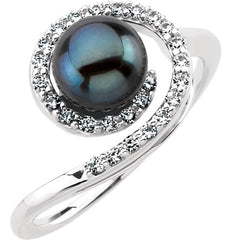 WOW Pearl Fashion | 14K White Akoya Cultured Black Pearl & 1/4 CTW Diamond Ring