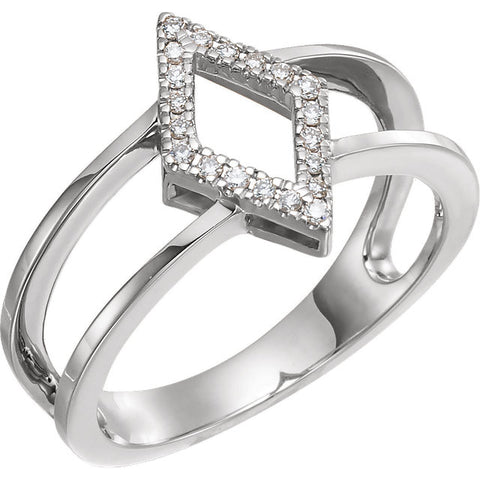 WOW Diamond Fashion | 14K Rose .10 CTW Geometric Diamond Accented Geo Ring
