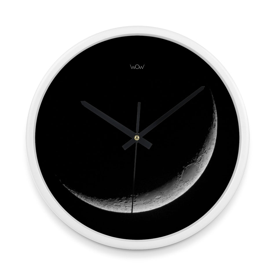 WOW | J Collection 14in White Framed Sweep Movement Mute Moon Crest Wall Clock