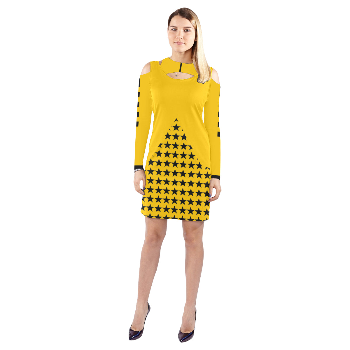 WOW | i Collection Geo Stars Halter Off Shoulder Long-Sleeve Yellow Dress