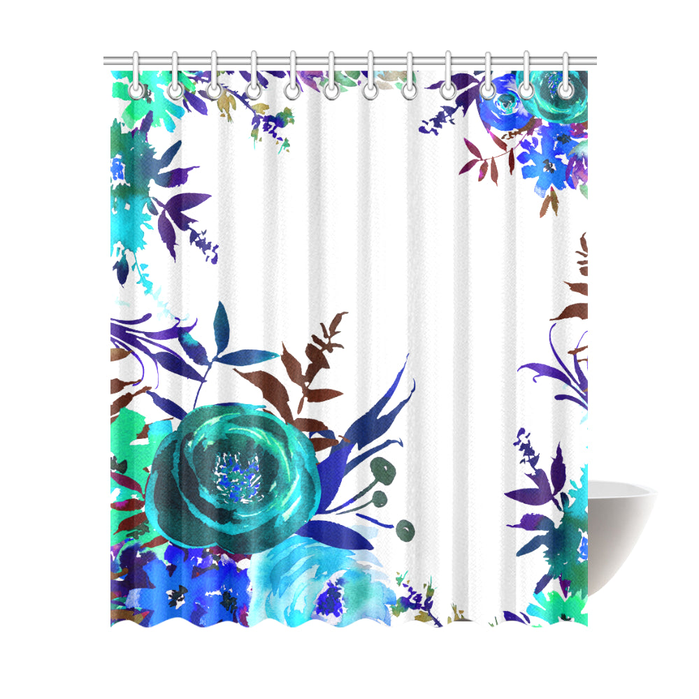 WOW | i Collection Colorful Aquamarine Floral Designer 72x84 Shower Curtain