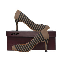 WOW | i Collection Women's Pumps High Classic Stripes Pattern Shoes