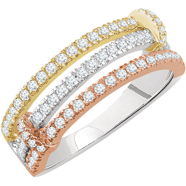 WOW Diamond Fashion | 14K White, Yellow, & Rose 1/2 CTW Diamond Ring