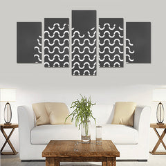 WOW | i Collection 5 Piece B&W S-Wave Pattern Heart Wall Art Canvas Print