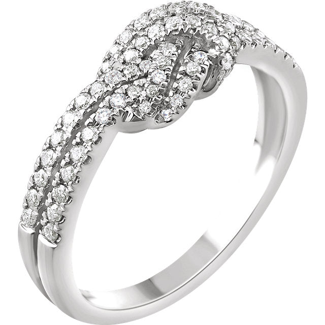 WOW Diamond Fashion | 14K White 1/3 CTW Diamond Knot Ring