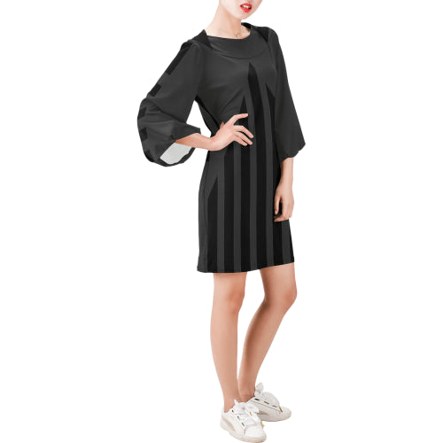 WOW | i Collection Bell Sleeve Trendy White Tone Stripes Dress
