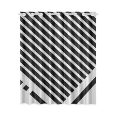 WOW | i Collection Black & Light Grey Angle Stripes Designer 52x63 Window Curtain