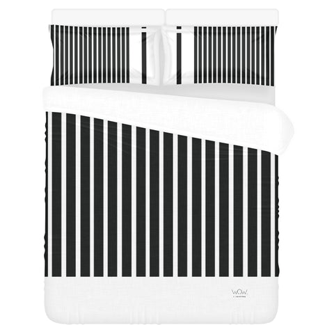 WOW | i Collection 3 Piece B&W Stripes Pattern Bedding Set