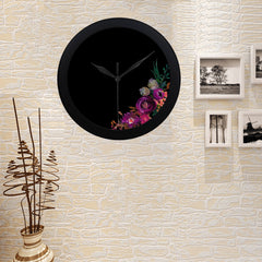 WOW | i Collection Colorful Floral Elegant Round Black Framing Wall Clock