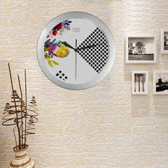 WOW | i Collection Colorful Floral & Circular Pattern Elegant Round Silver Framing Wall Clock