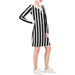 WOW | i Collection Long Sleeves Black & White Stripes Dress