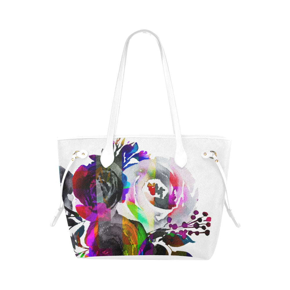 WOW | i Collection Colorful B&W Floral High Grade White Classic Tote Bag