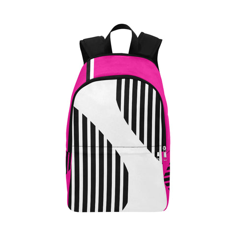WOW | i Collection Geo Stripes High Grade Waterproof Nylon Casual Pink Backpack