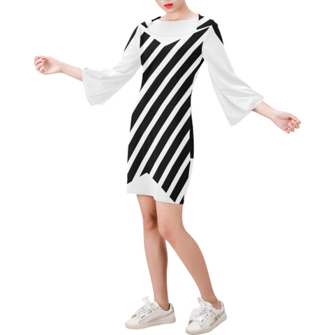 WOW | i Collection Bell Sleeve Trendy Black & White Pink Stripes Dress