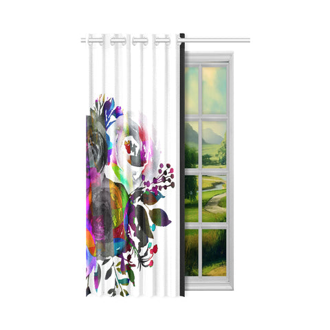 WOW | i Collection B&W Colorful Floral 50x84 White Window Curtain