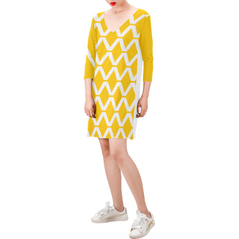 WOW | i Collection Deep V-Neck Three-Quarter Sleeve White & Yellow Diamondy Dress