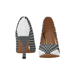 WOW | i Collection Women's Pumps High Heels Multi Black & White Hexi Pattern Shoes