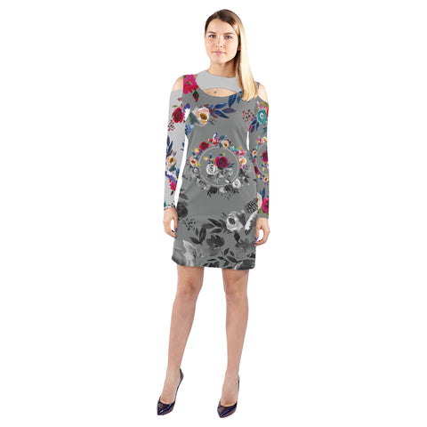 WOW | i Collection B&W Colorful Floral Halter Off Shoulder Long-Sleeve Grey Tone Dress