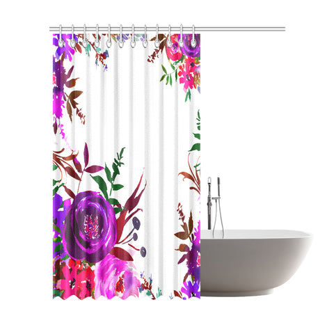 WOW | i Collection Colorful Purple Pink Floral Designer 72x84 Shower Curtain