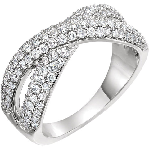 WOW Diamond Fashion | 14K White 1 CTW Diamond Criss-Cross Ring