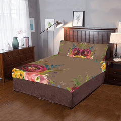 WOW | i Collection 3 Piece Colorful Floral Bedding Brown Set