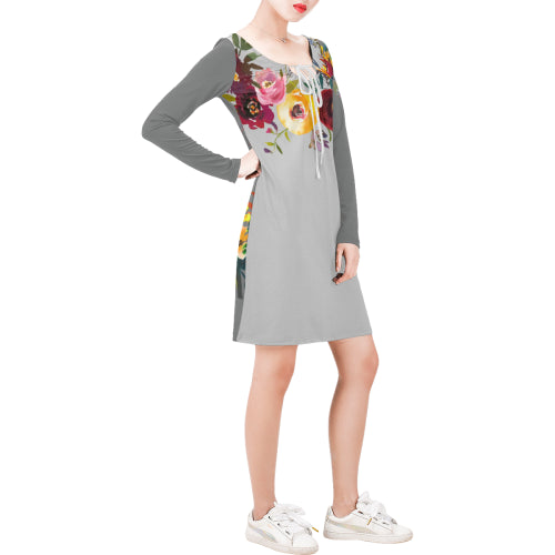 WOW | i Collection Long Sleeves Grey Colorful Floral Dress