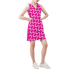 WOW | i Collection Sleeveless Pink & White S-Wave Pattern Trendy Dress