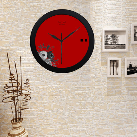WOW | i Collection B&W Red Elegant Round Black Framing Wall Clock