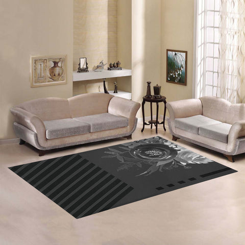 WOW | i Collection Geo Pattern Black Color Floral Area Rug 7' x 5'