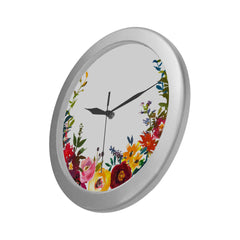 WOW | i Collection Colorful Floral Elegant Round Silver Framing Wall Clock