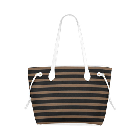 WOW | i Collection Geo Stripes High Grade Brown Classic Tote Bag