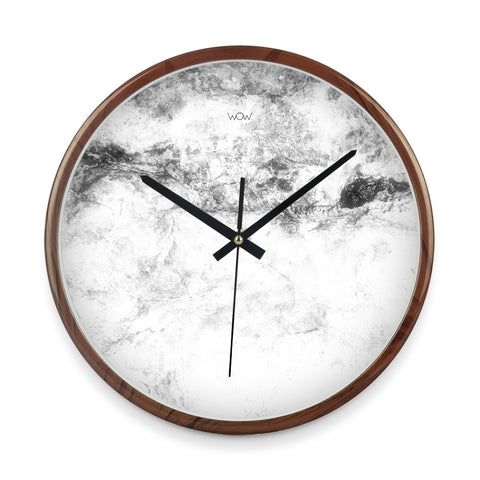 WOW | J Collection Wood Graining 14 Inch Fine Marble Framed Sweep Movement Mute Wall Clock