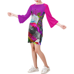WOW | i Collection Bell Sleeve Purple Pink Colorful Floral Trendy Dress