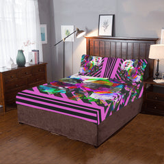 WOW | i Collection 3 Piece Colorful Floral Pink Purple Bedding Set