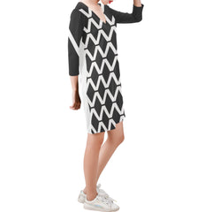 WOW | i Collection Deep V-Neck Three-Quarter Sleeve Black & White Diamondy Dress
