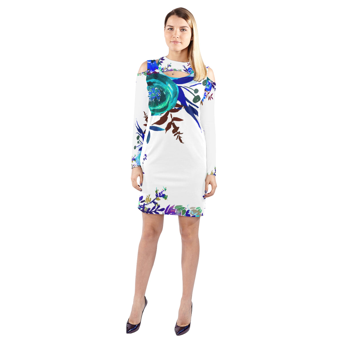 WOW | i Collection Colorful Aquamarine Floral Halter Off Shoulder Long-Sleeve White Dress