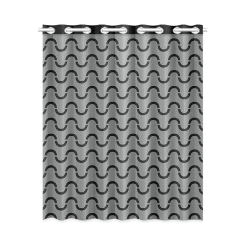 WOW | i Collection Black & Grey S-Wave Design 52x63 Window Curtain