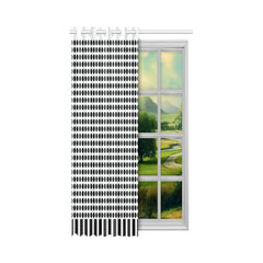 WOW | i Collection Black & White Circular Design 52x63 White Window Curtain