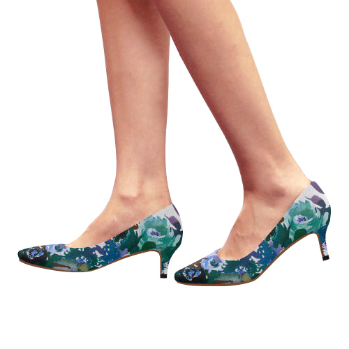 WOW | i Collection Women's Pointy Toe Low Kitten Heel Pumps Aquamarine Floral White Shoes