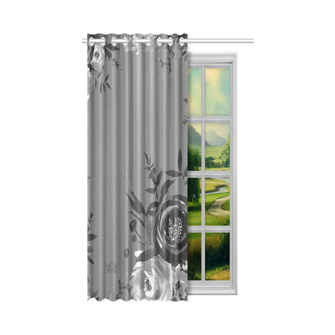 WOW | i Collection B&W Floral 50x84 Grey Window Curtain