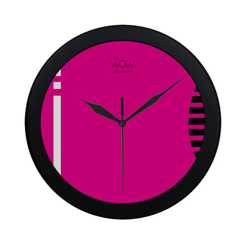 WOW | i Collection B&W Pink Stripes Pattern Elegant Round Black Framing Wall Clock