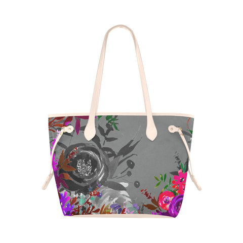 WOW | i Collection B&W Colorful Floral High Grade Antique-White Grey Classic Tote Bag