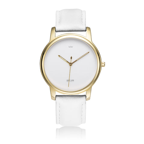WOW | J Collection Premium Gold White Leather Strap Water-resistant Quartz Watch