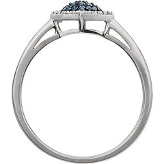 WOW Diamond Fashion | 14K White 1/6 CTW Blue & White Diamond Cluster Ring