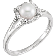 WOW Pearl Fashion | 14K White Freshwater Cultured Pearl & .05 CTW Diamond Ring
