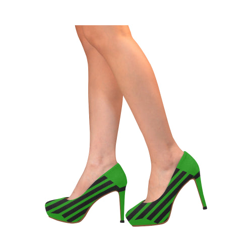 WOW | i Collection Women's High Heels Black and Green Stripe Pattern Fashion Shoes