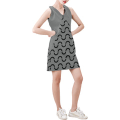 WOW | i Collection Sleeveless Black Grey S-Wave Pattern Trendy Dress